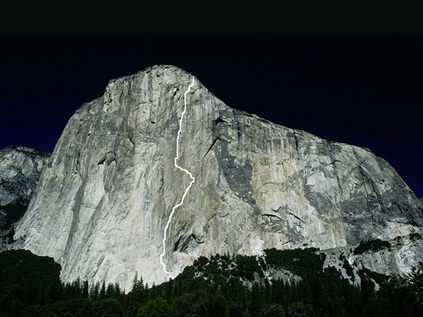 The line of Mescalito, El Capitan, Yosemite, Kevin Jorgeson