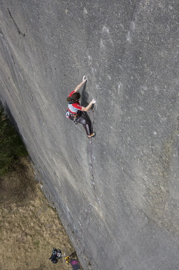 Alex Luger during the second ascent of Prinzip Hoffnung, Beat Kammerlander's trad route located at the Bürser Platte in Austria., Beat Kammerlander