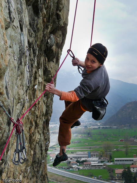 Tito Traversa climbing Faith 8a, Donnas, Valle d'Aosta, T&G Photo
