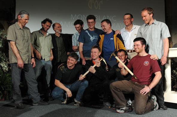 Foto di gruppo per i nominati del 18° Piolet d'or, Pascal Tournaire