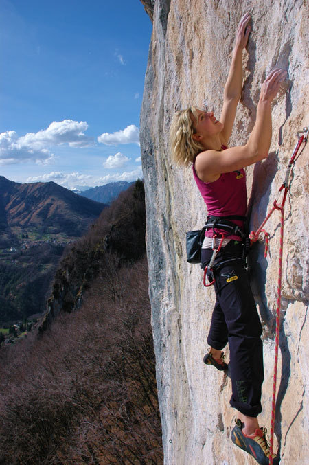 Angelika Rainer climbing Outsider 8a+ at Cornalba, Marco Servalli