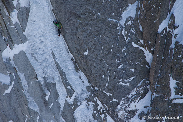 Ueli Steck soloing the Ginat route, Les Droites., Jon Griffith