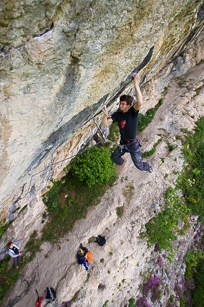 Silvio Reffo climbing at the Covolo, Italy, Andrea Trivisonno