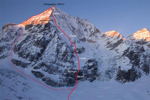 Schach Matt - Gran Zebrù. (3851m), North Face, 1000m M10+ WI5 55°. Florian & Martin Riegler, winter 2010. , Eduardo Gellner