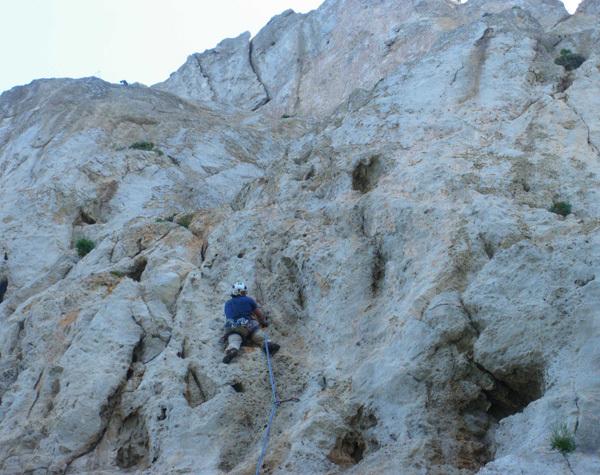 G. Iurato in arrampicata sul penultimo tiro, Max Flaccavento