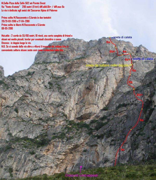 Monte Gallo (Palermo) Pizzo della Sella, via Vento d'estate (290m, 6c, 05/2010 Max Flaccavento, Giorgio Iurato), Max Flaccavento