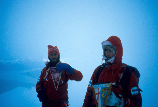 Salvatore Panzeri and Gianmaria Confalonieri on the summit on 24/12/1986, Salvatore Panzeri