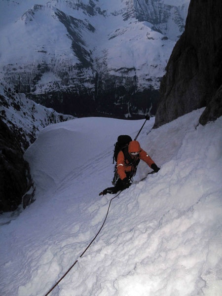 In the upper gully of Plein Sud on the Grandes Jorasses, Marcello Sanguineti
