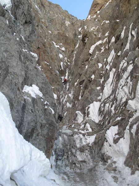 Nella Goulotte del Gran Camino di Plein Sud (parete Sud Grandes Jorasses), Marcello Sanguineti