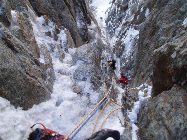 In the gully on the large Chimney on Plein Sud (S Face, Grandes Jorasses), Michel Coranotte