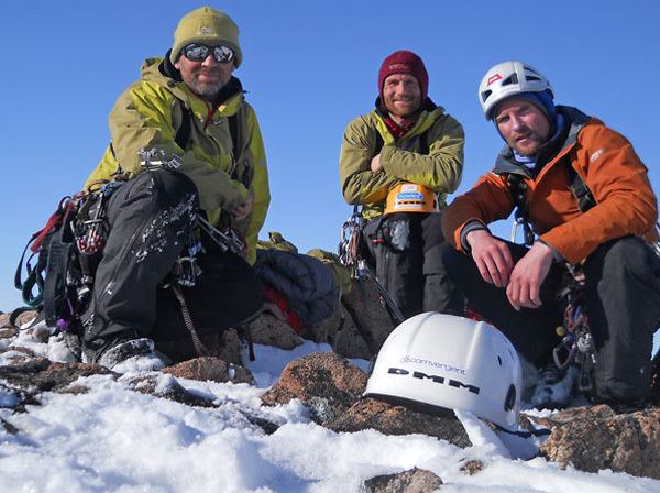 The team on the summit of Arctic Monkeys: Mike 'Twid' Turner, Mark Thomas and Stuart McAleese.  , Baffin Big Walls 2010