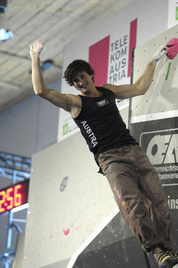 Kilian Fischhuber, winner in Hall during the 3rd astage of the Bouldering  World Cup 2007., Giulio Malfer