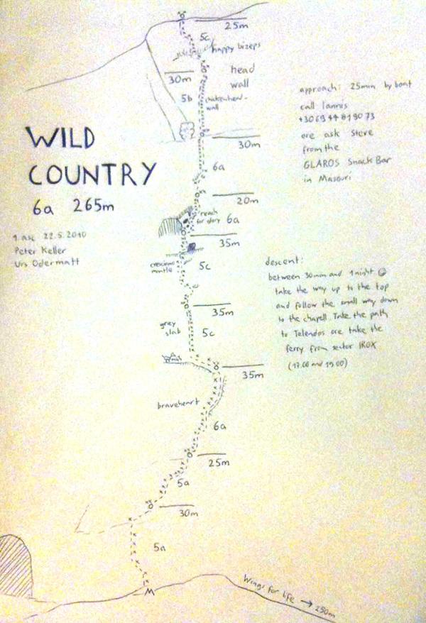 Wild Country (6a, 265m) Telendos, Kalymnos, Grecia. Prima salita Urs Odermatt & Peter Keller 22/05/2010, arch Odermatt