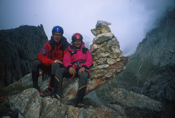 Marco Zebochin e Stefano Zaleri in cima alla loro Troubles, cough and fever (540, 6b+, A1), parete nord Roungkhanchan 1, Nangma Valley, Pakistan, arch. Crosato, Zaleri, Zebochin