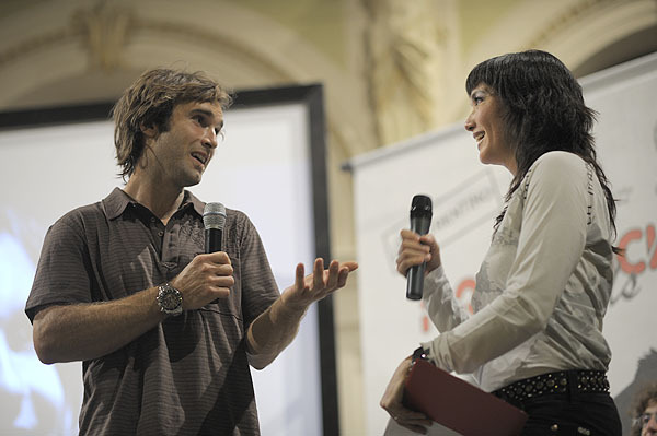 Arco Rock Legends 2009 - Chris Sharma, vincitore del Salewa Rock Award con Kay Rush, Giulio Malfer