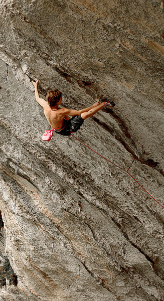 Enzo Oddo - nominated for the Salewa Rock Award 2010, here climbing  Abysse 9a at the Gorges du Loup, France, Phil Maurel