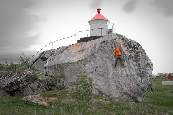 Nalle Hukkataival on the first ascent of the aptly named Outlook, a high quality sandstone with a small lighthouse on top of boulder., Nalle Hukkataival archive