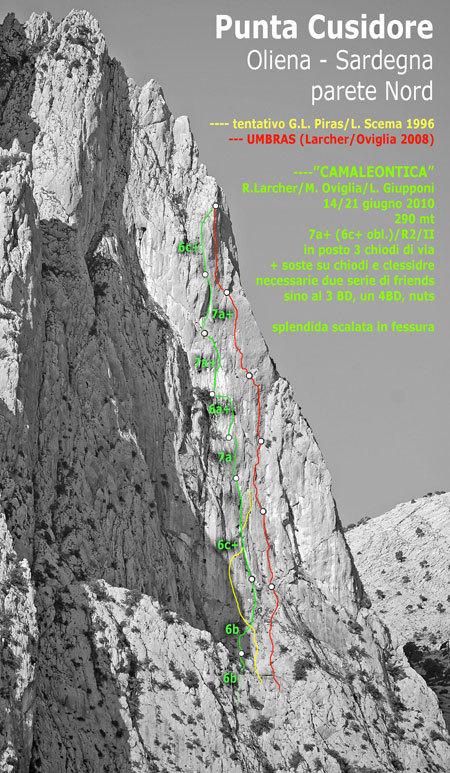 Camaleontica line of ascent, arch. R. Larcher - M. Oviglia