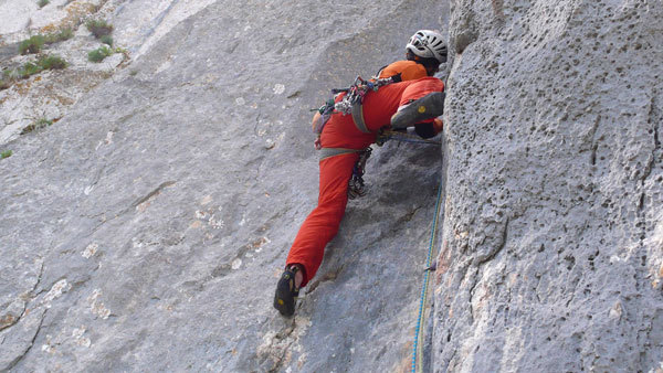 Rolando Larcher (day 2) on pitch 4 of Camaleontica, arch. R. Larcher - M. Oviglia