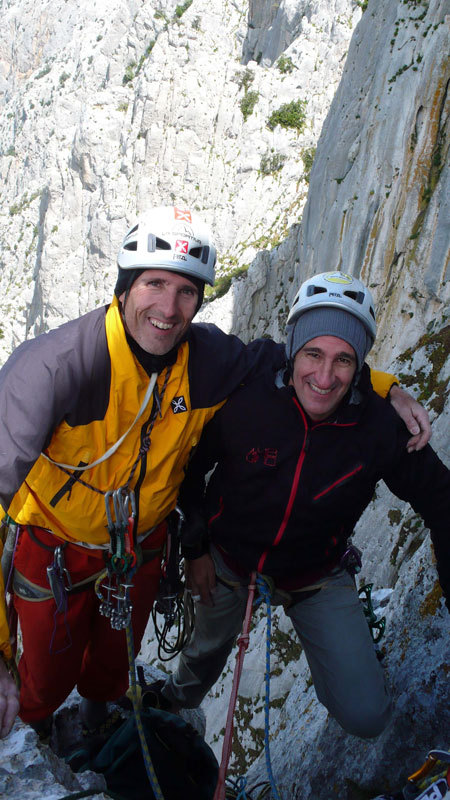Rolando Larcher & Maurizio Oviglia, on the summit with an almost Patagonian wind, arch. R. Larcher - M. Oviglia