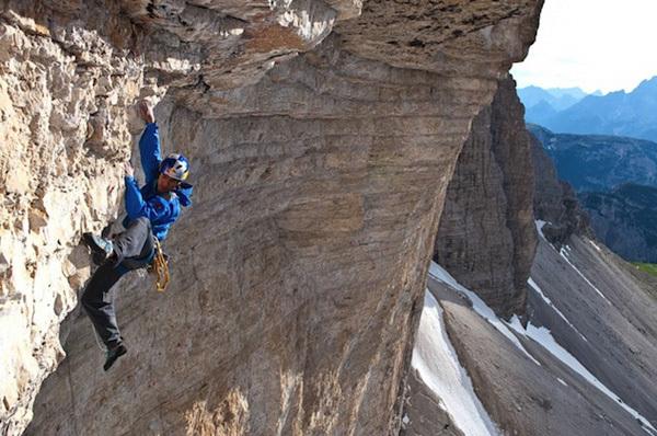 David Lama sale Bellavista, Cima Ovest, Tre Cime di Lavaredo, Rainer Eder