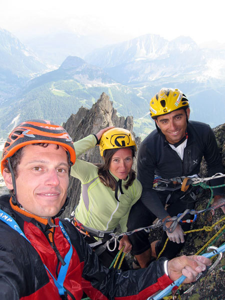 Self-portrait on the summit (from left to right: Matteo Giglio, Giovanna Mongilardi, Marco Farina), arch. M. Farina, M. Giglio, G. Mongilardi