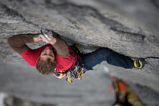 Much Mayr at the start of pitch 2 (7c+), Reinhard Fichtinger