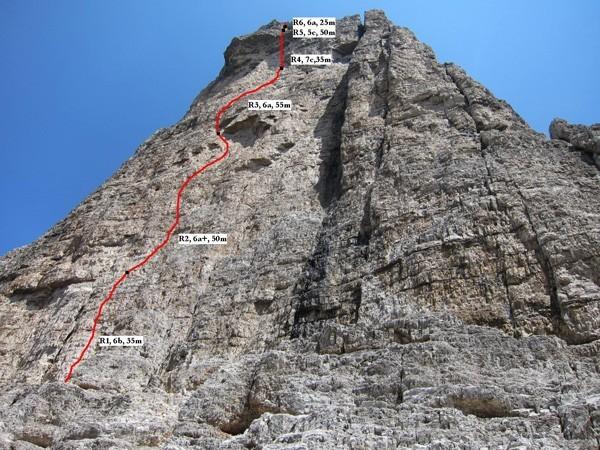 Via Sandro Pertini (250m, 7c) Cima Grande, Tre Cime di Lavaredo, Dolomiti, Andrej Grmovšek