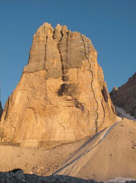 Pressknödl (400m, 7c) Cima Ovest di Lavaredo, Dolomiti, arch Hainz