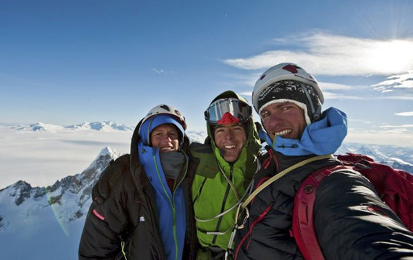 Stephan Siegrist, Dani Arnold & Thomas Senf on the summit of Torre Egger, Patagonia, Thomas Senf visualimpact.ch