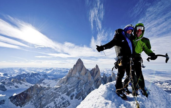 Stephan Siegrist & Dani Arnold on the summit of Torre Egger, Patagonia, Thomas Senf visualimpact.ch