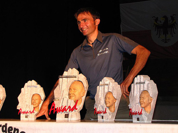 Karl Unterkircher Award 2010. The winner Ueli Steck, arch Unterkircher Award