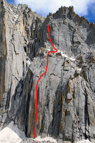 Off-Dido (7a+ 550m), Babar Wall, Nangmah Valley in Pakistan, arch Leopoldo Faria