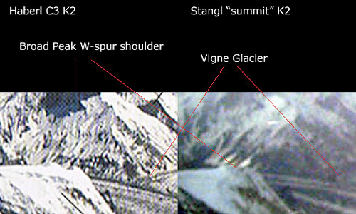 Two photos compared by ExplorersWeb: on the right the shot taken by Stangl, on the left a photo taken from Camp 3 and published in