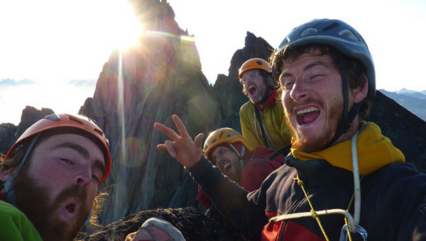 Sean Villanueva, Olivier Favresse, Nico Favresse and Ben Ditto reunited on the summit of Shepton Spire., Favresse archive