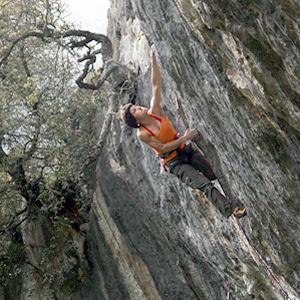 Irata Anda climbing White Zombie 8c, Baltzola, Spain, Patxi Usobiaga