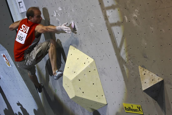Cédric Lachat competing in the Final of the European Championship Bouldering 2010, www.euro-2010.at