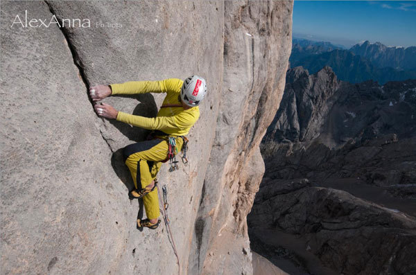 Rolando Larcher in action on AlexAnna 8a+ max / 7a+ obl., Giampaolo Calzà