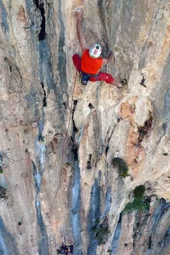 Rolando Larcher climbing the second pitch (8b) of Mezzogiorno di fuoco, Punta Giradili, Sardinia, Maurizio Oviglia