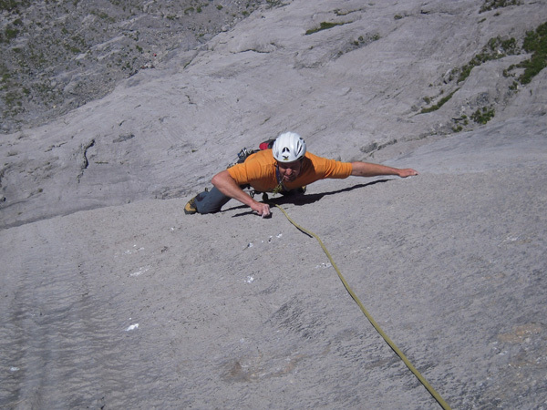 Mario Fullin during the first free ascent of Transocean on the Pfaffenhut, Wenden, Switzerland, arch Ruhstaller