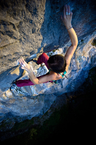 Barbara Raudner making the first ascent of her Mauerblümchen 8b+/8c, Frankenfels, Austria, Claudia Ziegler