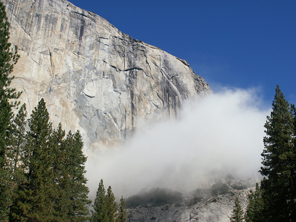 The cloud of dust caused by the rockfall on El Capitan in Yosemite, USA., Tom Evans
