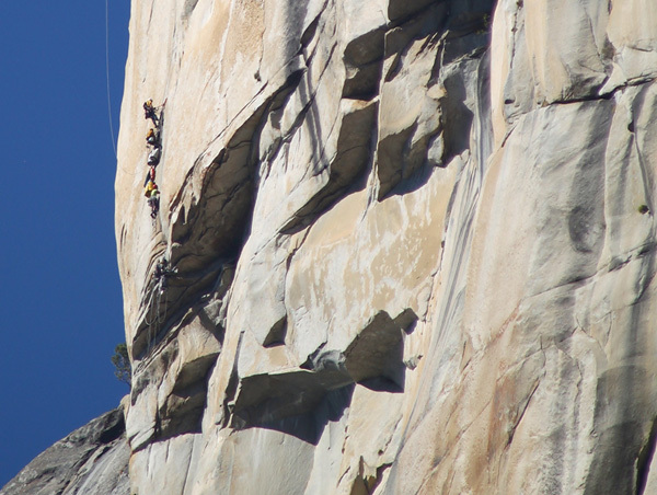 Traffic jam on the Salathe Headwall, El Capitan, Yosemite, USA, Tom Evans