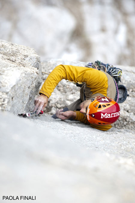 Nicola Tondini during the first free ascent of Menhir, Pilastro di Mezzo, Sass dla Crusc, Dolomites, Paola Finali
