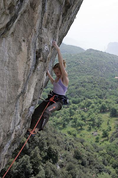 Angela Eiter climbing Claudio Caffè 8c+, Terra Promessa, Arco, Bernie Ruech