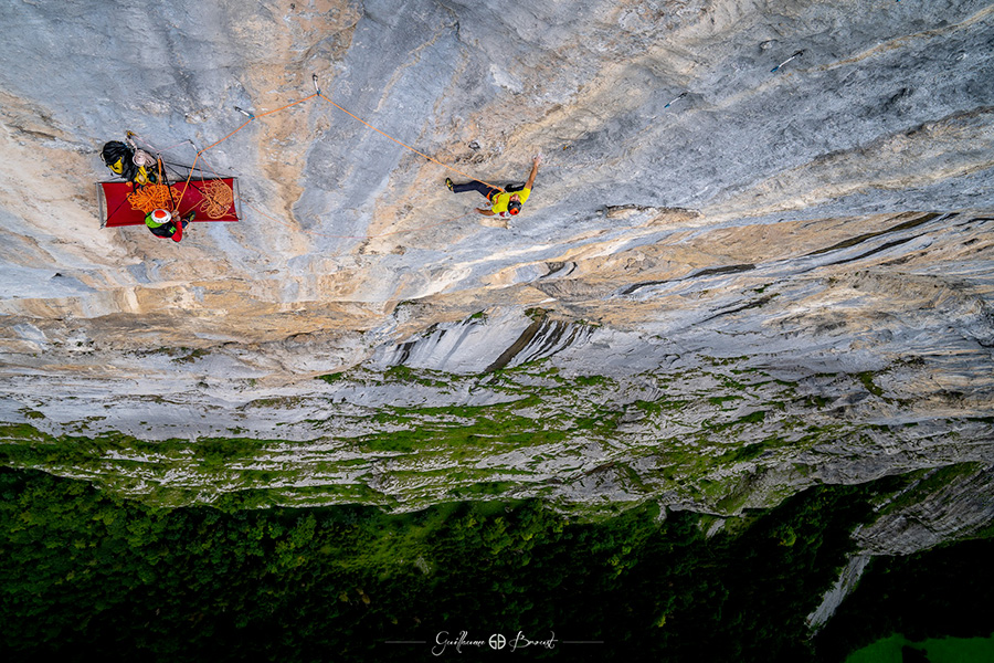 Tobias Suter, belayed by Cédric Lachat, on Fly up Staldeflue, Lauterbrunnental, Switzerland Guillaume Broust