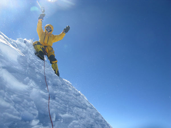 Simone Moro on the summit of Makalu during the first winter ascent, arch. Simone Moro