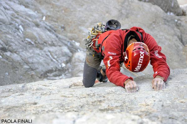 Nicola Tondini sul Passaggio Messner al Pilastro di Mezzo del Sass dla Crusc, Paola Finali