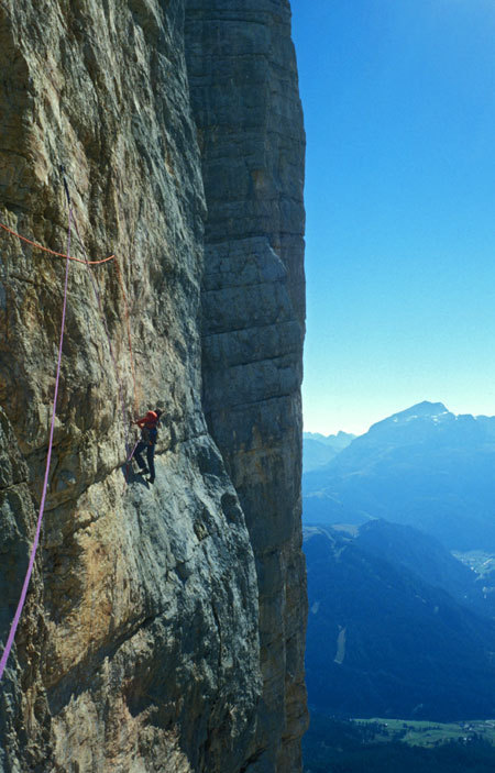 16/07/1978: during the first repeat of the Via Messner up the Pilastro di Mezzo on Sass dla Crusc carried out by Heinz Mariacher, Luisa Iovane and Luggi Rieser, arch. H. Mariacher