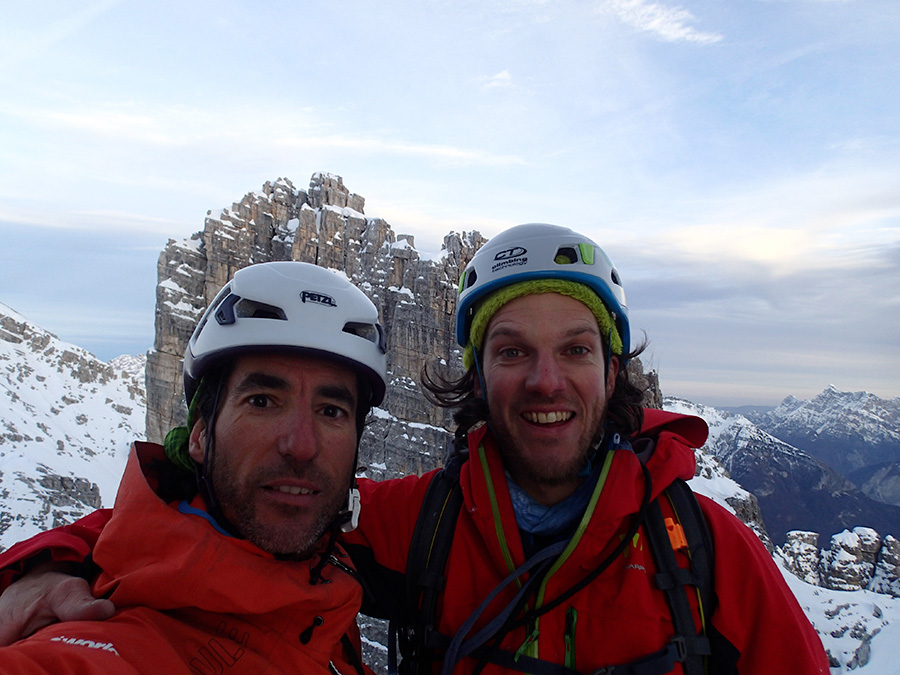 Santiago Padrós and Diego Toigo after having made the first ascent of Madre Tierra up Rocchetta Alta di Bosconero, Zoldo Dolomites Santiago Padrós